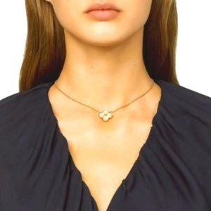 Tory Burch Rope Pearl Clover Pendant Necklace